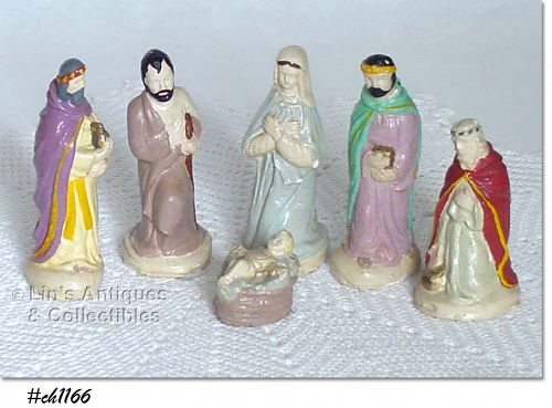 HAND PAINTED CHALK NATIVITIY SET