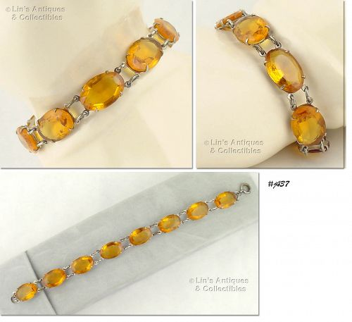 VINTAGE BRACELET WITH TOPAZ COLOR GLASS RHINESTONES