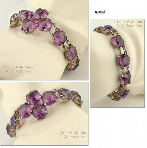 VINTAGE BRACELET WITH PURPLE COLOR GLASS RHINESTONES