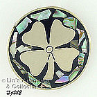 SILVER 4-LEAF CLOVER PIN WITH ABALONE ACCENTS