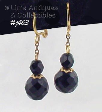 BLACK GLASS BEAD DANGLE EARRINGS