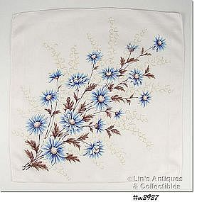 BLUE DAISIES AND LILIES OF THE VALLEY HANKY