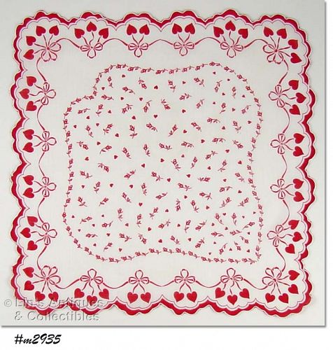 VALENTINE HANKY WITH RED HEARTS AND ROSEBUDS