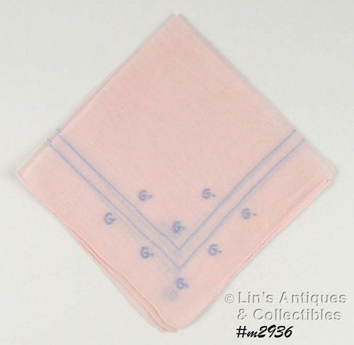 PINK HANDKERCHIEF WITH �G� MONOGRAM