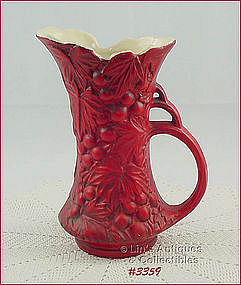 McCOY POTTERY � GRAPES PITCHER VASE (RED)