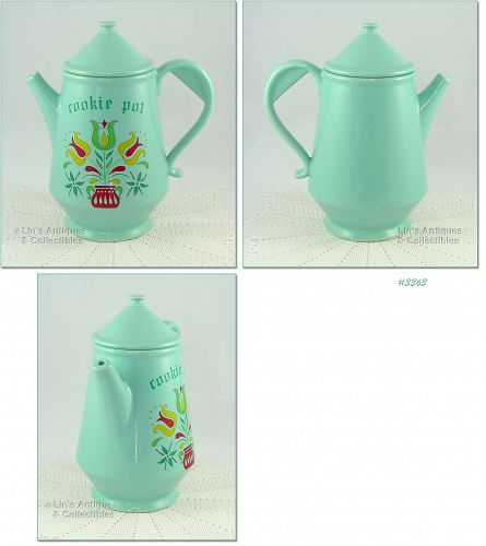 McCOY POTTERY � COOKIE POT COOKIE JAR (AQUA)