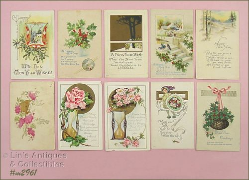 LOT OF 10 NEW YEAR�S POST CARDS
