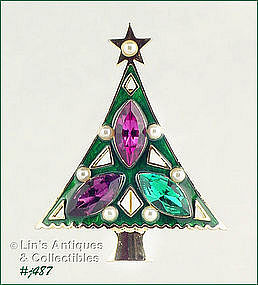 EISENBERG ICE � LARGE RHINESTONES CHRISTMAS TREE PIN