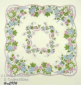 LOVELY HANKY WITH PINK AND BLUE FLOWERS AND BUTTERFLIES