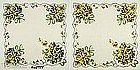TWO HANKIES WITH PANSY BOUQUETS AND SCALLOPED HEMS
