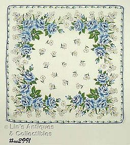 BLUE ROSES AND WHITE DAISIES HANDKERCHIEF