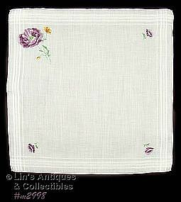 WHITE HANDKERCHIEF WITH EMBROIDERED PURPLE POPPIES