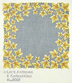 GRAY HANDKERCHIEF WITH GOLD COLOR OAK LEAVES