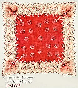 BEAUTIFUL ORANGE/RED HANDKERCHIEF WITH LEAVES