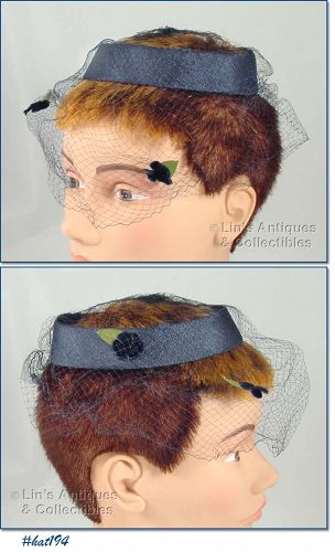 BLUE CAGE HAT WITH NETTING VEIL