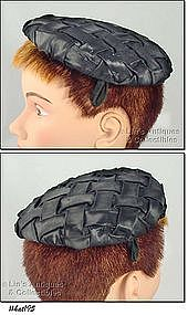 �JEAN MARLOW� INTERWOVEN BLACK HAT