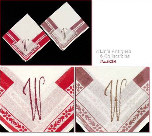PAIR OF �W� MONOGRAMMED HANDKERCHIEFS