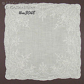 HEIRLOOM QUALITY WHITE WEDDING HANDKERCHIEF