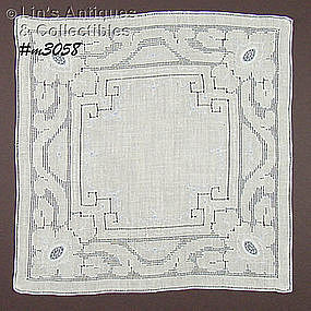 WHITE WEDDING HANDKERCHIEF WITH BLUE