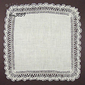WHITE HANKY WITH BEAUTIFUL CROCHET EDGE