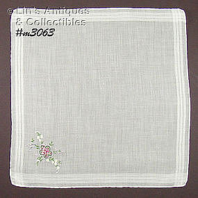 WHITE HANKY WITH PETIT POINT BOUQUET