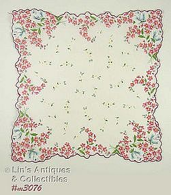 PINK FLOWERS AND WHITE FLOWERS HANDKERCHIEF
