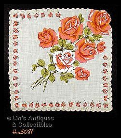 HANDKERCHIEF WITH BOUQUET OF ORANGE COLOR ROSES
