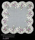 GRAY HANDKERCHIEF WITH PURPLE ROSES AND TULIPS