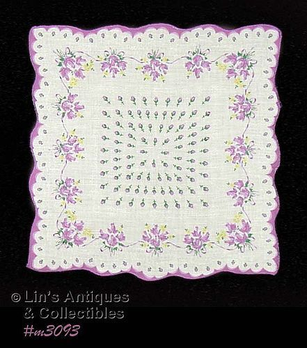 HANDKERCHIEF WITH LOTS AND LOTS OF PURPLE ROSES