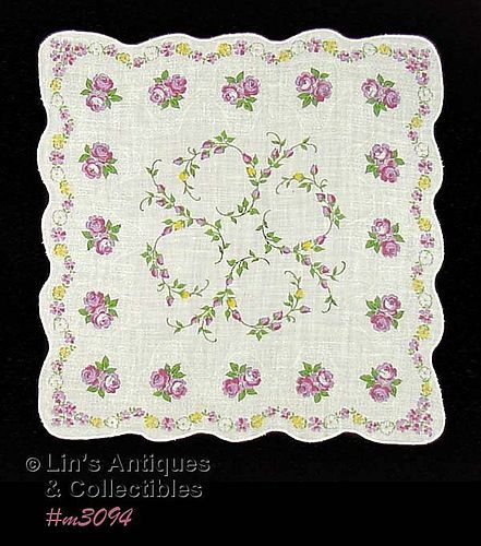 PURPLE ROSES HANDKERCHIEF