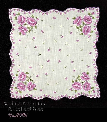 SCALLOPED EDGE HANDKERCHIEF WITH PURPLE POPPIES