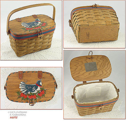 VINTAGE HAND PAINTED LONGABERGER BASKET PURSE DATED 1984