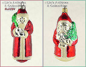 TWO SANTA ORNAMENTS