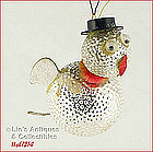 GLASS BIRD WITH TOP HAT ORNAMENT