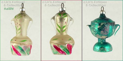 FREE BLOWN GLASS URN ORNAMENTS (2)