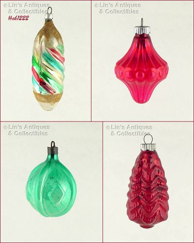 FOUR UNUSUAL SHAPED GLASS ORNAMENTS