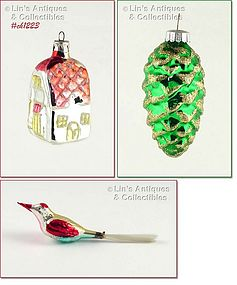 THREE ORNAMENTS � COTTAGE, BIRD, PINECONE