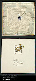 THREE LINEN HANDKERCHIEFS WITH FRENCH LACE