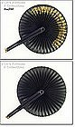 LADY�S VICTORIAN PARASOL,  COCKADE, FAN (BLACK AND GOLD