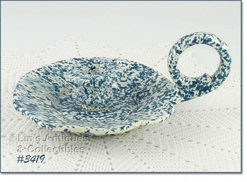 McCOY POTTERY � BLUE COUNTRY CANDLEHOLDER