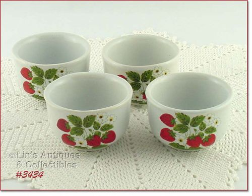 McCOY POTTERY � STRAWBERRY COUNTRY CUSTARDS (4)