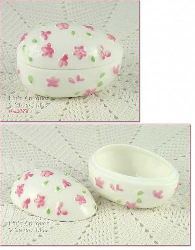 EGG SHAPED BONE CHINA TRINKET BOX