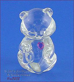 GLASS TEDDY BEAR FIGURINE (3 ¾�)
