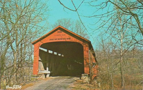 POSTCARD �COVERED BRIDGE, PARKE COUNTY, INDIANA, No. 17