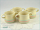 McCOY POTTERY � PINK AND BLUE SOUPS (4)