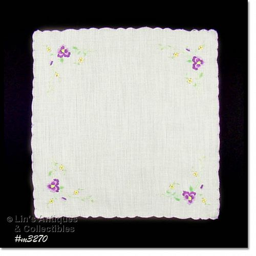EMBROIDERED PURPLE VIOLETS HANDKERCHIEF
