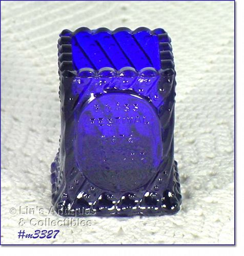 COBALT BLUE GLASS TOOTHPICK HOLDER DATED 1972