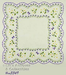 HANDKERCHIEF WITH PURPLE BUTTERFLIES
