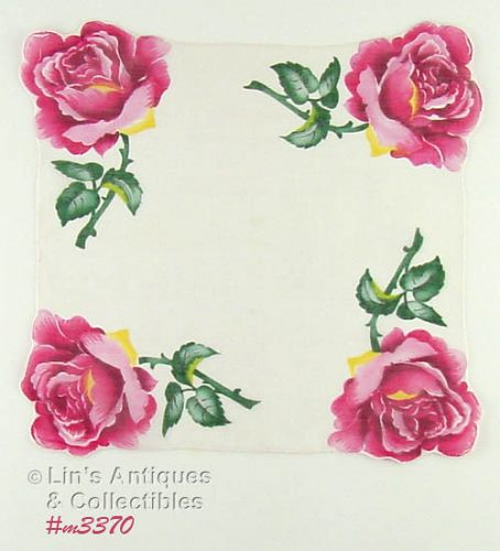 HANDKERCHIEF WITH PINK ROSE CORNERS