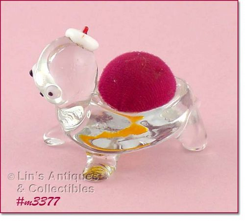 GLASS TURTLE PIN CUSHION HOLDER